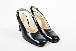 Chanel Leather Patent Black Pumps