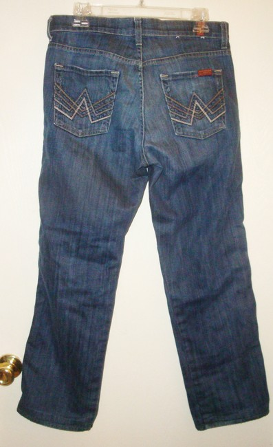 7 For All Mankind Seven Sfam A Pocket Petite Hemmed Shortened 10 Button Fly Cropped Size 10 Boot Cut Jeans-Medium Wash