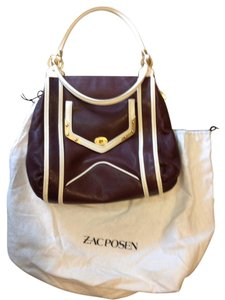 Zac Posen Designer Lola Satchel Tote in Chocolate Brown & Ivory