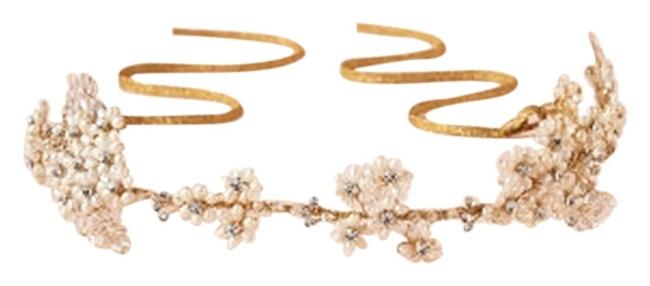 Item - Gold & Pearl Aster Halo By Twigs Honey Hair Accessory