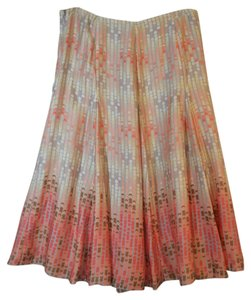 Emma James Flowing Summer Dressy Lined Skirt Peach and Grey