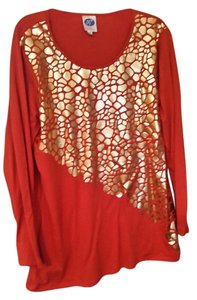 Diane Gilman Top Orange and gold