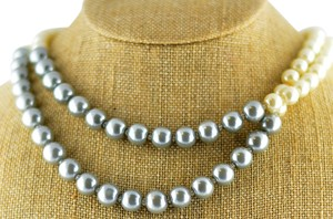 Stoosh Accessories Two tone Pearl necklace. (Slate/Pearl)