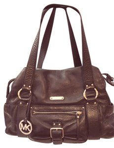 Michael Kors Leather Satchel in Black with Gold Hardware