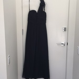 Amsale Navy Silk Formal Bridesmaid/Mob Dress Size 4 (S)