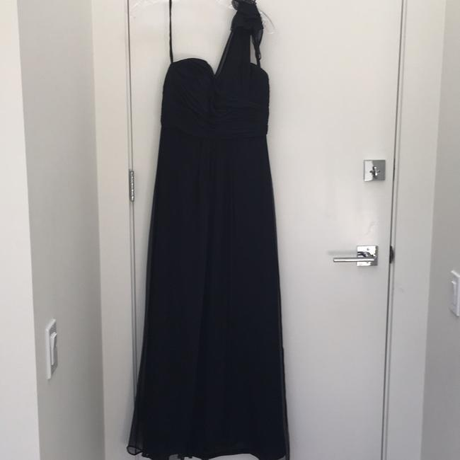 Item - Navy Silk Formal Bridesmaid/Mob Dress Size 4 (S)