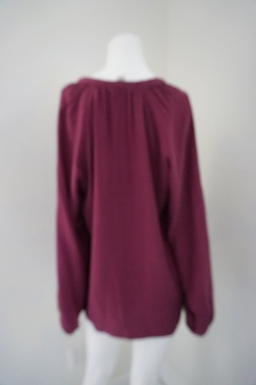 Lucky Brand Maroon Silk Long Sleeve Size M V Neck With Tie Top - 65% Off Retail hot sale