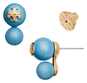 Tory Burch New Tory Burch Crystal Double Pearl Studs in Blue Falls with Gold T Logo - 16k Gold