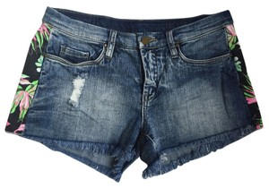 BlankNYC Cut Off Shorts Denim Blue w/ black, green and pink tropical print