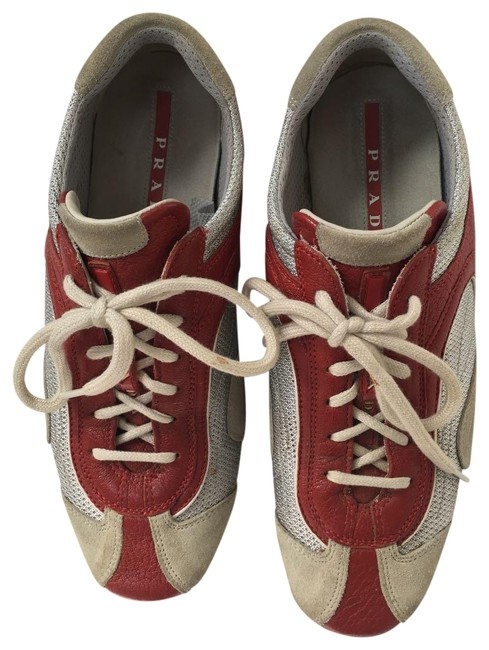 Prada Red Silver Sport Leather Sneakers Size US 7.5 Regular (M, B) Prada Red Silver Sport Leather Sneakers Size US 7.5 Regular (M, B) Image 1