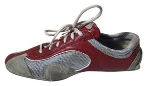 Prada Leather 7.5 Sneakers Sport red silver Athletic