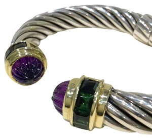 David Yurman David Yurman Sterling & 14kt 10mm Cable Bracelet Amethyst Tsavorite