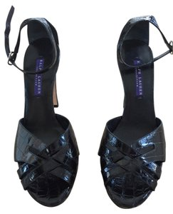 Ralph Lauren Collection Alligator Heels Black Sandals