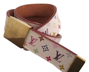 Louis Vuitton Authentic USED Louis Vuitton Multi color Monogram white BELT with box