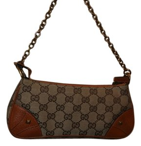 Gucci Vintage Studded Gg Canvas Monogram Leather Chain Strap Baguette