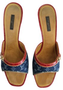 Louis Vuitton Sandal Blue denim with red crocodile trim Mules
