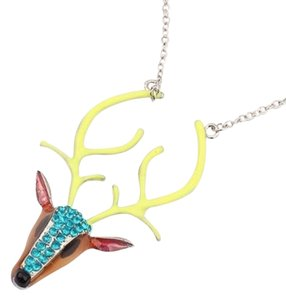 Cool Deer W/ Neon Horns Charm Necklace