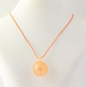 Orange Spiral Glass Pendant Necklace - 925 Sterling Silver Spring Clasp Womens
