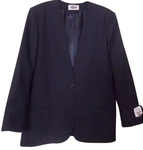 Other New Single Button No Collar Black Career Blazer