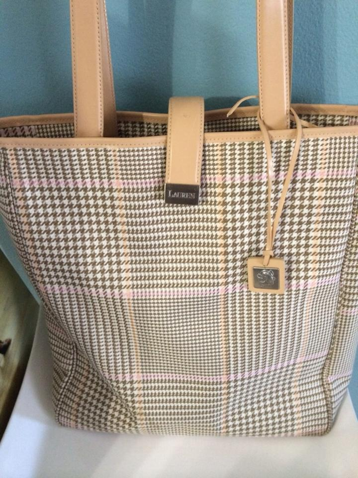 a7c75e90147c Ralph Lauren Set Of Two Matching Beige Brown White and Pink Tote ...