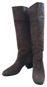 Gucci Monogram Embossed Suede Vintage Brown Boots