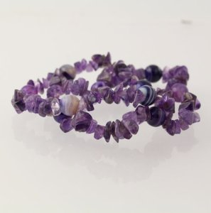 Set Of Beaded Bracelets Purple Amethyst Agate Gemstone Beads Stretch Band