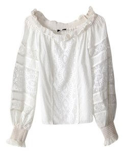 Andrew Gn Peasant Lace Boho Top White