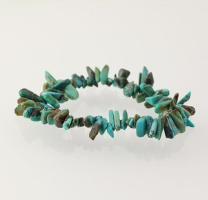 Beaded Bracelet - Turquoise Stone Beads Stretch Band Rough Cut Womens 7.5