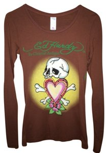 Ed Hardy Christian Audigier T Shirt Chocolate/Brown
