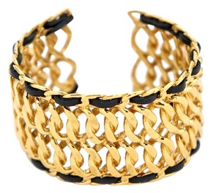 Chanel Authentic CHANEL Vintage Gold Plate with Black Leather Weave Accent Cuff Bracelet RARE