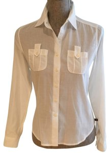 Ralph Lauren Lauren Safari Blouses Sheer Button Down Shirt White