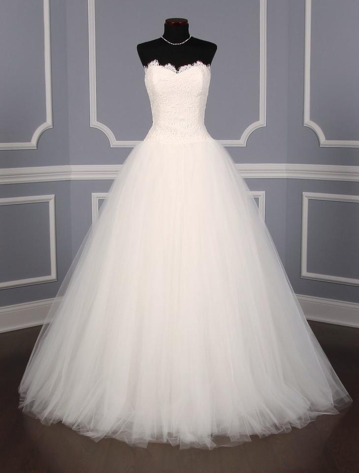 Theia Off White Diamond Re Embroidered Lace Tulle Erin Formal Wedding Dress Size 10 M