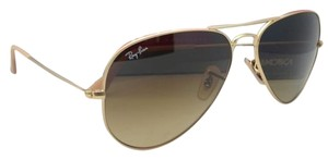 Ray-Ban New Ray-Ban Sunglasses RB 3025 Large Metal 112/85 55-14 Matte Gold Aviator Frame w/ Brown Gradient Lenses