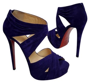 Christian Louboutin Ruched Suede Never Worn Purple Suede Platforms