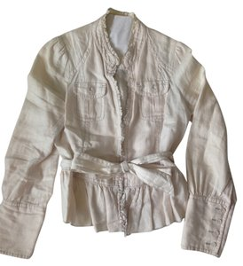 Anthropologie Belted Linen Off-white Blazer