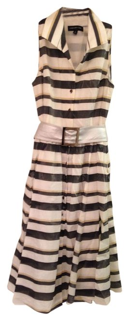 Preload https://item2.tradesy.com/images/jones-new-york-gray-and-gold-striped-with-ann-klein-silver-belt-mid-length-cocktail-dress-size-10-m-1385331-0-0.jpg?width=400&height=650