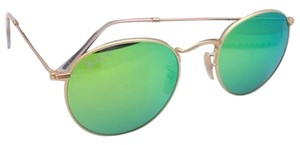 Ray-Ban New Ray-Ban POLARIZED Sunglasses ROUND METAL RB 3447 112/P9 Gold Frame w/ Green Mirror Lenses