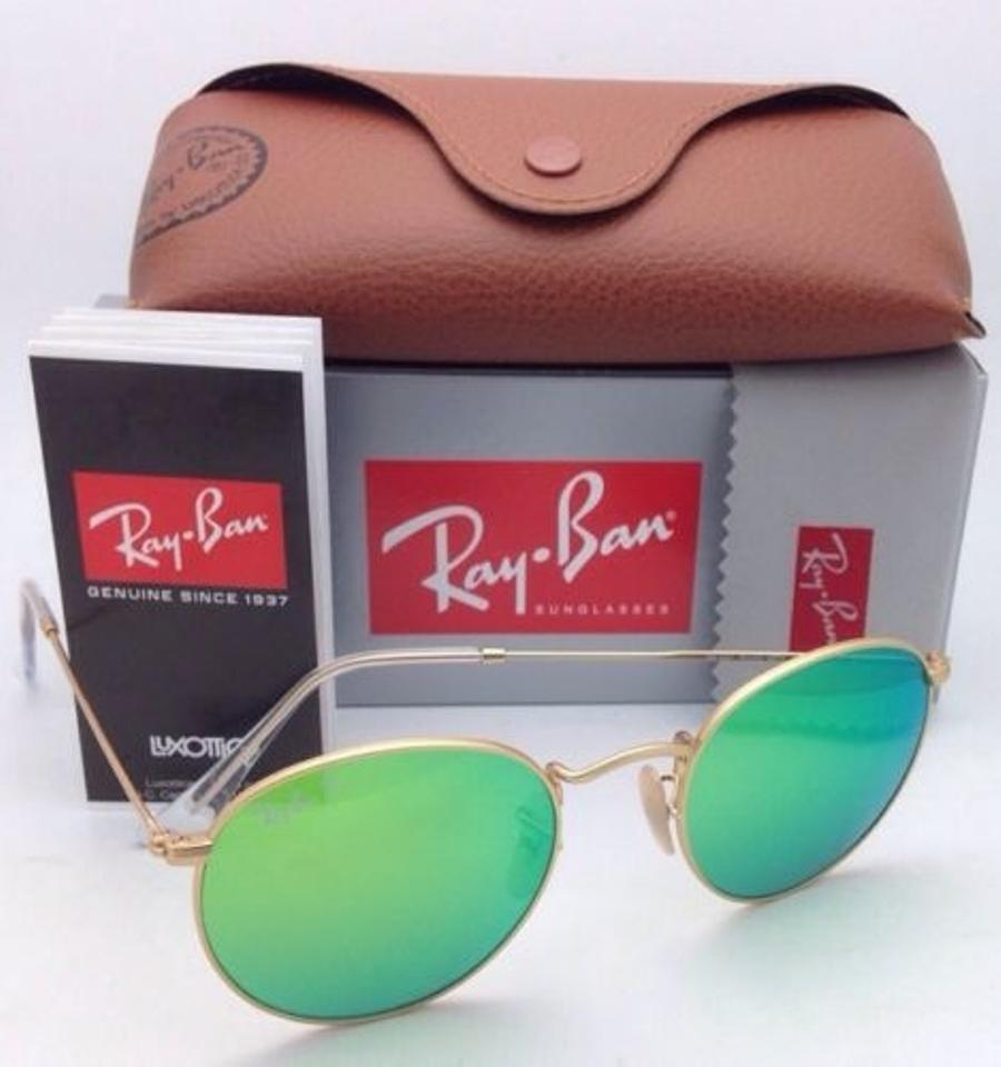 5a4b28ef7de66 Ray-Ban Round Metal Rb 3447 112 P9 Gold W  Green Mirror New ...