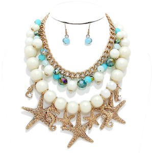 Multilayer Antique Gold Starfish Sealife Charm Necklace and Earrings