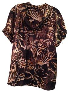 Anne Klein Top Brown Patterned
