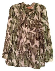 Ellen Tracy Button Down Button Down Shirt Green Patterned