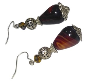 Other New Burgundy Agate Gemstone Earrings Silver Tone J2275