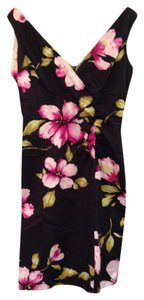 Donna Ricco short dress Black with Flowers Hibiscus Flower on Tradesy