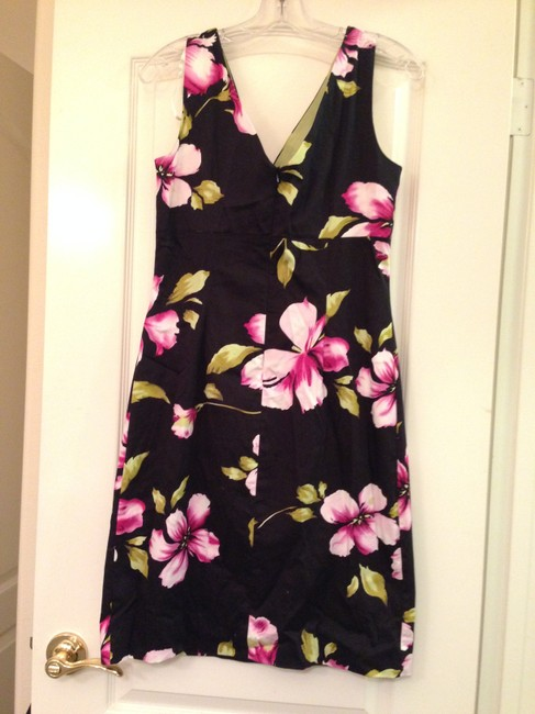 Donna Ricco short dress Black with Flowers Hibiscus Tropical Hawaiian on Tradesy