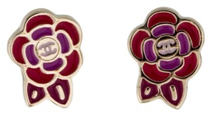 Chanel Gold-tone Chanel red enamel Camellia interlocking CC logo stud earrings