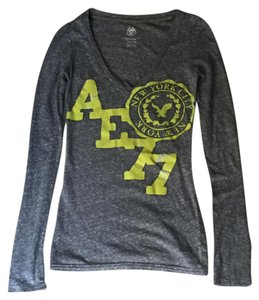 American Eagle Outfitters Longsleeve T Shirt Gray yellow