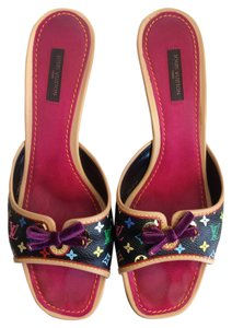 Louis Vuitton Limited Edition Collectable Black Multicolor Mules