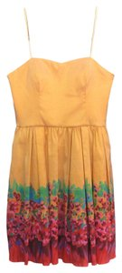 Aqua short dress peach Nwt Strapless Floral on Tradesy