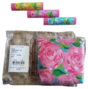 Lilly Pulitzer NWT Lilly Pulitzer First Impressions Set of 3 Lip Balm Zippered Pouch SPF 15