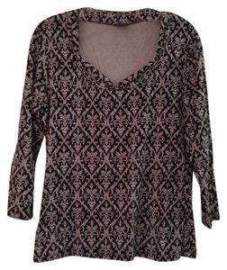 Ann Taylor Long Sleeves Top Dark Blue Patterned